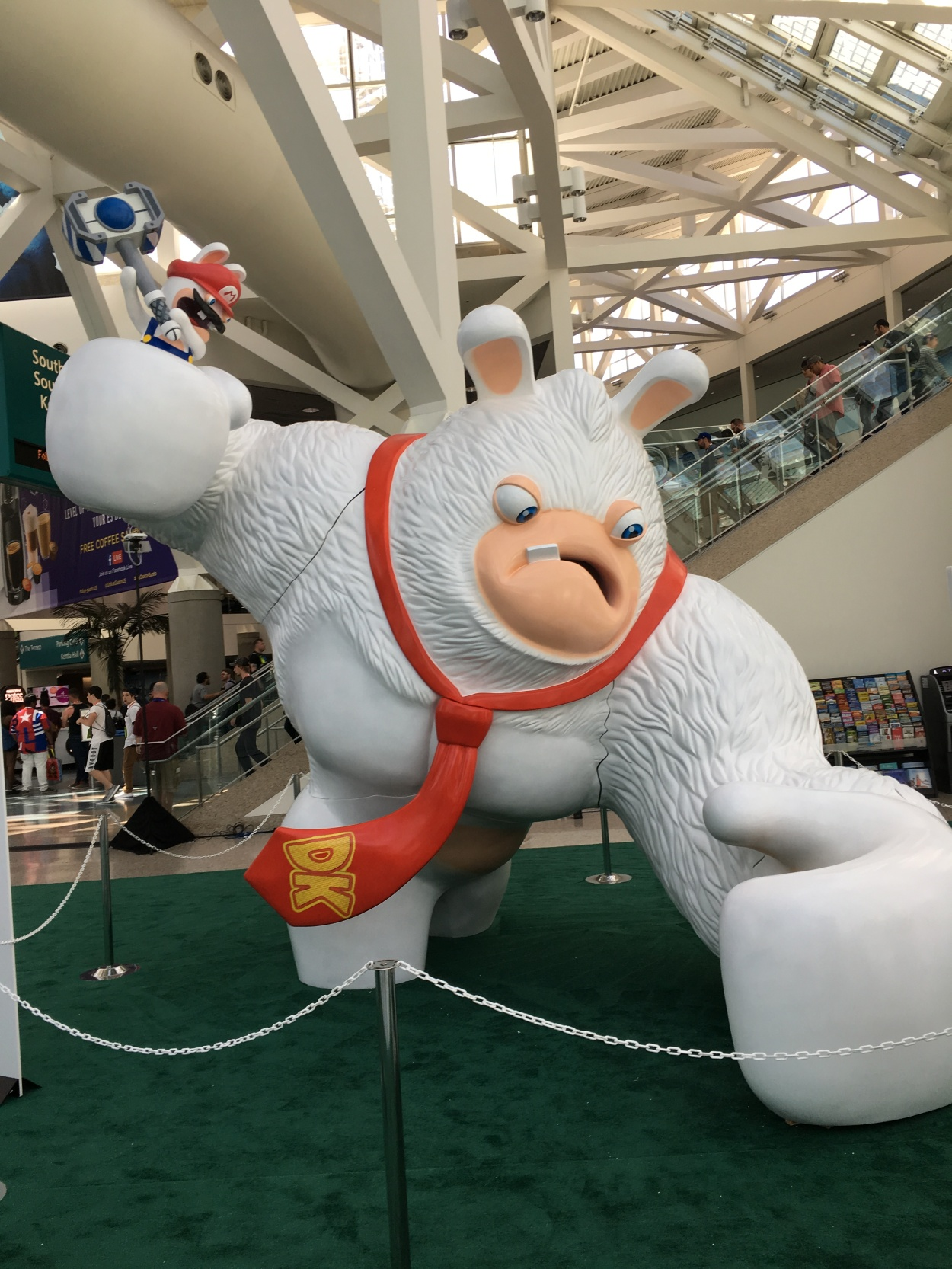 a giant rabbid with a dk tie