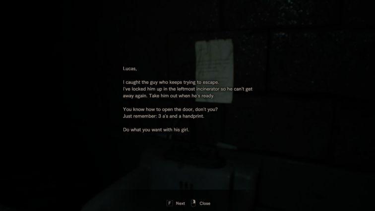incinerator room note